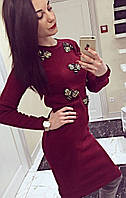 Костюм юбка+свитер с нашивками