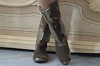 Женские весенние пятнистые сапожки. Арт-0460