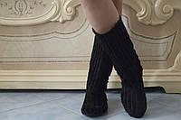 Женские весенние черные вельветовые полусапожки. Арт-0462