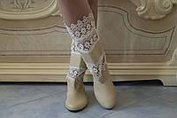 Женские весенние стильные полусапожки, эко кожа+макраме. Арт-0465