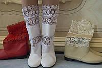 Женские весенние стильные полусапожки, эко кожа+макраме. Арт-0466