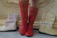 Женские весенние стильные красные полусапожки, эко кожа+макраме. Арт-0467