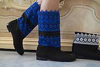 Женские весенние стильные комбинированные полусапожки, велюр+макраме. Арт-0468