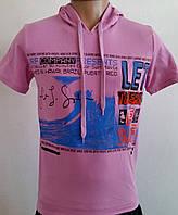 Мужская футболка капюшон яркая р46