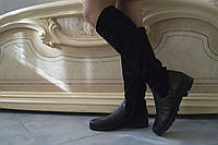 Высокие женские стильные черные замшевые сапоги. Арт-0499