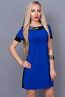 Платье с отделками из кожи синее (электрик)