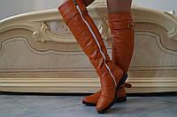 Высокие женские стильные сапоги из эко кожи. Арт-0505