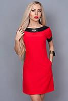 Платье красное с кожаными обводками