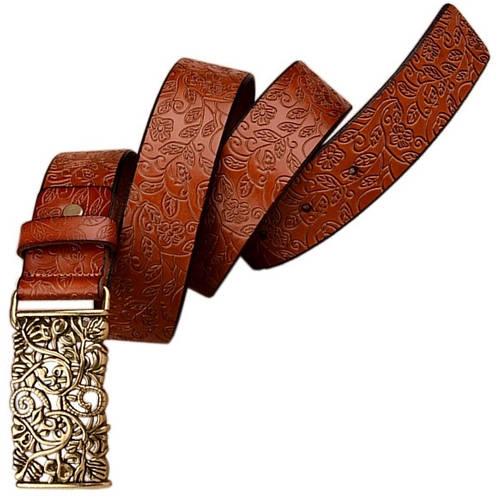 Эффектный кожаный пояс с ажурной металлической пряжкой Traum 8826-01 ДхШ: 115х3,2 см.