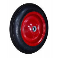 """Колесо с металлическим диском на литой резине для тачки Technics, 14"""", ось 16х60 мм"""
