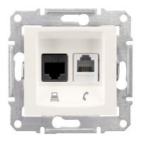 Розетка Schneider-Electric Sedna Телефонная+комп. UTP кат. 5е слоновая кость. SDN5100123