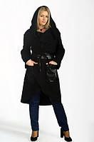 Оригинальное кашемировое женское пальто под пояс с капюшоном со вставками экокожи