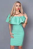 Нарядное платье нежно-салатовое с открытыми плечами