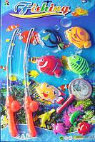 Рыбалка - детская игра, две удочки, сачок, восемь рыбок
