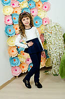 Костюм для девочки с баской синий, фото 1