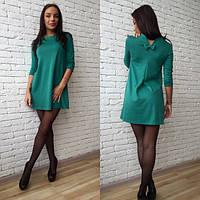 Молодежное короткое трикотажное платье трапецией размеры 42-46