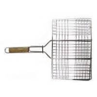 Решетка-гриль для мяса, 26х35 см, с ручкой дерево, 59 см