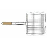 Решетка-гриль корзина, 25х31 см, с ручкой дерево, 56 см