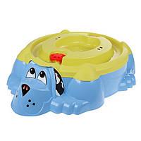 """Песочница- бассейн  голубая """"Собачка""""  PalPlay с желтой  крышкой"""