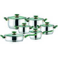 Набор кухонной посуды из нержавеющей стали 12 предметов (4 кастрюли, 1 ковш, 1 сковорода) Maestro MR-2012