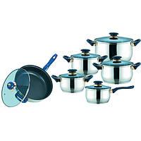 Набор кухонной посуды из нержавеющей стали 12 предметов (4 кастрюли, 1 ковш, 1 сковорода) Maestro MR-2014