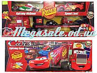 """Набор инерционных машинок """"Тачки/Cars"""" 3 штуки в комплекте: МакКуин + Франческо + трейлер"""