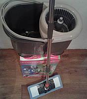 Швабра полотер+моп микрофибра+ведро с центрифугой и 2-ным отжимом,Гривня Петривна Люкс-2.Китай.