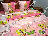 Детское полуторное постельное белье Губка Боб (0625)