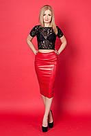 Женский костюм двойка 641(черный с красной юбкой)