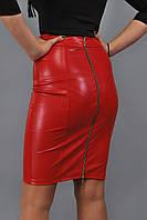 Юбка женская до колен с двухсторонней молнией - Красный