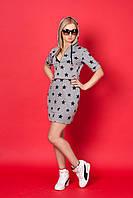 Женское платье с капюшоном 922 (серый в звездочки)