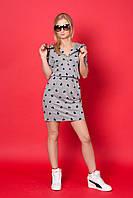 Женское платье с капюшоном 922 (серый в сердечки)