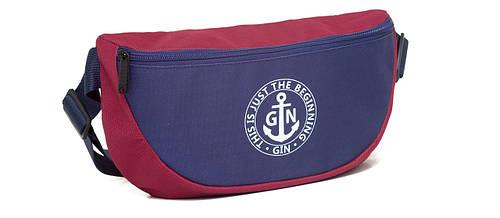 Поясная сумка L GIN 75395 бордо с синим