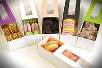 Коробка для Macaron  с окошком красная (код 04669)