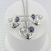 R7-0041 - Романтичный комплект Сердечки с цветами (серо-синие и прозрачные фианиты) родий