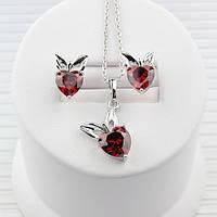 R7-0046 - Очаровательный комплект Яблочки с красными фианитами родий