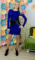 Модельное платье с кожей электрик, фото 1