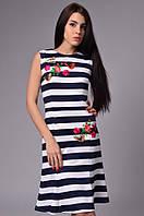 Женское платье дайвинг+вышивка с открытой спиной
