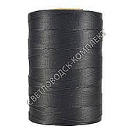 Нитка вощёная, полиэстер, круглая нить, Текс 280#, 500 м, цв.чёрный