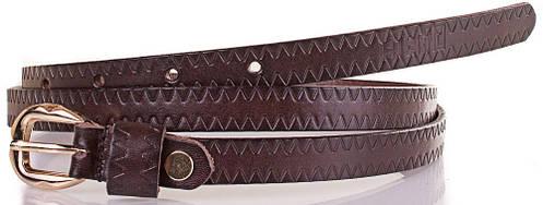 Женский узкий качественый кожаный ремень ETERNO (ЭТЕРНО) ETS5068-10, темно-коричневый