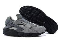 Кроссовки мужские Nike Huarache Grey Suede (найк, оригинал) серые