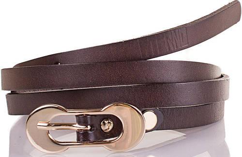 Женский узкий кожаный ремень ETERNO (ЭТЕРНО) ETS7378-10, темно-коричневый