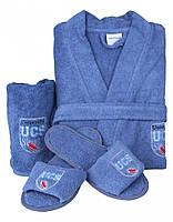 Набор халат, тапочки и полотенце Karaca Home Leal синий