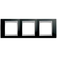 Рамка Schneider-Electric Unica Top 3-поста черный родий/алюминий. MGU66.006.093