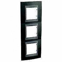 Рамка Schneider-Electric Unica Top 3-поста вертикал. черный родий/графит. MGU66.006V.293