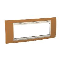 Рамка Schneider-Electric Unica Plus 6-постов оранжевый/слоновая кость. MGU6.106.569