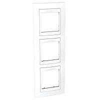 Рамка Schneider-Electric Unica Plus 3-поста вертикал. белый. MGU6.006V.18