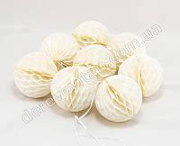 Гирлянда из шаров-сот, молочная, d10 см