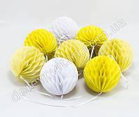 Гирлянда из шаров-сот, бело-желто-лимонная, d10 см