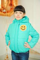 Детская весенняя курточка - жилетка на девочку  ''Смайл'' бирюза